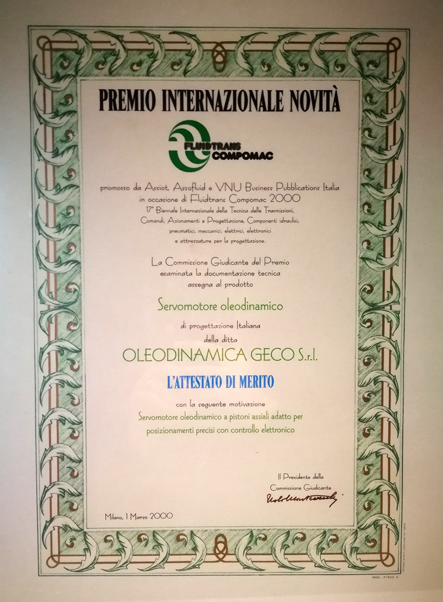 1 Oleodinamica Geco - Premio-novità-2000